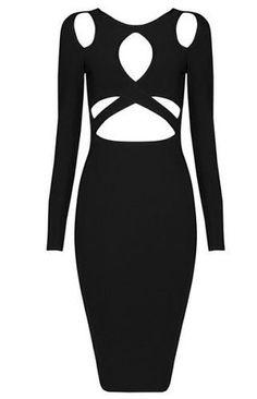 Tasmin Black Long Sleeve Cut Out Bandage Dress