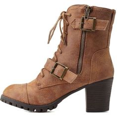 Charlotte Russe Chestnut Bamboo Belted Lug Sole Combat Booties by... ($43) ❤ liked on Polyvore featuring shoes, boots, ankle booties and chestnut