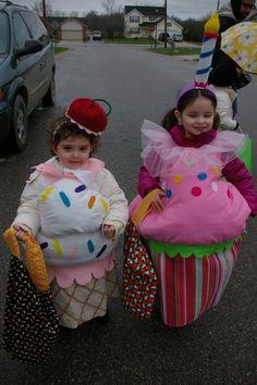 Halloween costumes: cupcake and ice cream cone