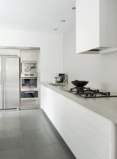.stainless steel appliance wall