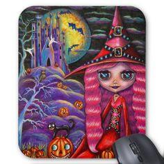 Cute Little Pink Witch Blythe Doll, Purple Haunted Castle, Black Cat, Pumpkins, Bats, Ghosts Big Eye Halloween Mousepad