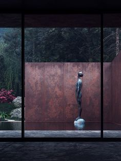 """archatlas: """"Rose House by Sergey Makhno Studio Rose is a guesthouse made of concrete, weathering steel, glass and water. The steel exterior seems private and fully immersed in the wild nature, whilst. Rose House, Weathering Steel, Lisa Thomas, Steel House, Corten Steel, Minimalist Home Decor, Elle Decor, Decoration, Beautiful Homes"""