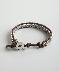 Talonbrown leather and silver studded wrap bracelet - love this!