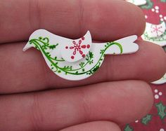 Set of 5 - White Partridge Bird Shrinky Dinks - Christmas - For Scrapbooking Card Making