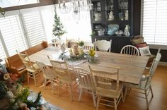 Rustic Farm Table Reveal--have the table, need vintage chairs to paint like these