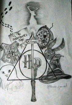 Harry Potter Tumblr, Harry Potter Fan Art, Harry Potter Sketch, Harry Potter Symbols, Harry Potter Painting, Harry Potter Items, Harry Potter Tattoos, Harry Potter Images, Harry Potter Anime