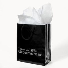 Lot of 12 Black Paper Thank You Groomsmen Wedding Bridal Party Gift Bags