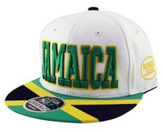 Adult Mens JAMAICA Snapback Flat Peak Baseball Cap in White Black Green Yellow Flag: Amazon.co.uk: Clothing