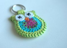 Crochet owl keychain green owl key ring by MutineerJewelry on Etsy