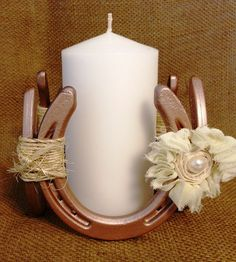 Decorative Horseshoe Fixture with Mason Jar by KatiesSpecialTouch (held together with twine not glue or weld) Quince Decorations, Baptism Decorations, Wedding Decorations, Western Centerpieces, Wedding Centerpieces, Rustic Wedding, Our Wedding, Dream Wedding, Horseshoe Wedding