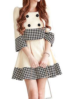HOUNDSTOOTH TRIMMED SWINGING TWEED DRESS SET | The Style Mob