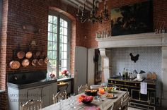 country kitchen with la cornue stove