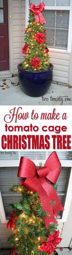 How to Make a Tomato Cage Christmas Tree - GREAT tutorial!  It cost less than $20 to make!  1 tomato cage, 1 strand of 100 lights*, 3 strands of 9 foot garland*, zip ties