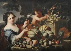 Abraham Brueghel (Antwerpen vor 1631 – Neapel - Still life with a young woman and a putto as an allegory of autumn. 134 x 98 cm. Great Cuts, Alexander The Great, Still Life, Modern Art, Autumn, Oil, Fine Art, Woman, Canvas