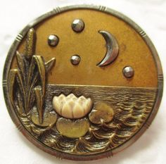 Metal 'Lilypad, Moon & Stars' Button with Ivoroid Inlay and Cut Steels