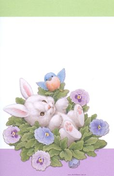 bunny in flowers - Conejos