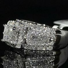2ct Wedding Ring Princess Cut Diamond 3 in 1 style Cathedral side 10mm Big 14KWG