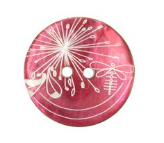 Shell Buttons - Rich Luster Dandelion and Dragonfly Pattern Red Shell Buttons, 0.91 inch, 6 Pcs on Etsy, $5.00