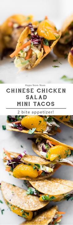 Everything is just more fun to eat when it's bite-sized. That's all it takes to enjoy these phenomenal Chinese Chicken Salad Mini Tacos. Mini Tacos, Carnitas, Quesadillas, Appetizers For Party, Appetizer Recipes, Dinner Recipes, Asian Recipes, Healthy Recipes, Ethnic Recipes