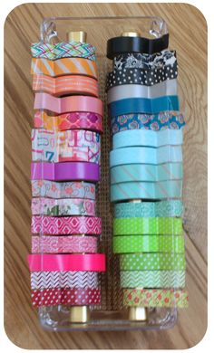 washi tape organization with tension curtain rods