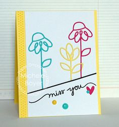 Card by PS DT Michele Boyer using PS Dainty Flowers dies, Scripty Sayings, Heart dies
