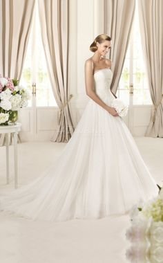 Trumpet/Mermaid Strapless Sleeveless Glamorous and Dramatic Satin,Tulle Floor-length Church Wedding Dresses(SCW371)