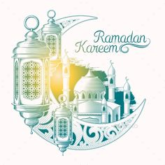 Buy Ramadan Kareem by vectorpocket on GraphicRiver. Vector colored illustration for Ramadan Kareem with sketch of Ramadan lantern, towers of mosque, vintage moon isolate. Ramadan Mubarak Wallpapers, Mubarak Ramadan, Ramadan Gifts, Mubarak Images, Ramadan Greetings, Eid Mubarak Greetings, Ramadan Wishes, Ramadan Background, Art Background