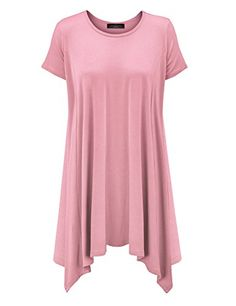 25be078a3d4 MBJ Womens Short Sleeve Side Panel Loose Fit Tunic Top XL MINT: This  oversized shirt is perfect for this spring summer look and cut for relaxed  fit with ...