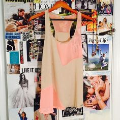 GUESS Nude and Pink geometric cutout tank Never been worn, small spot is water from steaming. Guess Tops Tank Tops