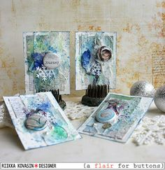 Chilly winter ATCs by Riikka Kovasin for A Flair for Buttons