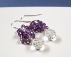 Gemstone cluster earrings Amethyst and clear quartz briolette faceted purple and clear on Sterling ear wires