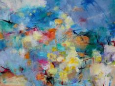 It's a Beautiful Day Colorful Abstract Expressionist painting by Kerri Blackman #walls #art #abstract #intuitive #blue #yellow #summer  https://www.etsy.com/listing/243809624/large-colorful-abstract-expressionist?ref=shop_home_active_1