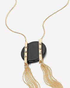 Black Agate Tassel Pendant Necklace