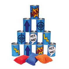 Indoor game - cover cans with superhero decoration. Make bean bags in superhero colors (maybe even put on a logo). See who has super power to knock them all over on the try! Give a small prize. Superhero Room, Superhero Party, Superman, Indoor Birthday Games, Diy For Kids, Crafts For Kids, Avengers Birthday, Outdoor Activities For Kids, Diy Games