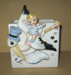 Vintage Relpo Baby Boy Rides On Wings Of Stork Planter #C813 Made in Japan