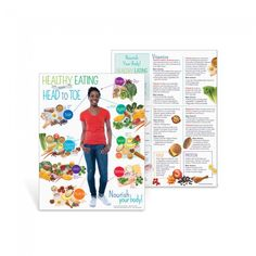 "The Adult Healthy Eating from Head to Toe Handout shows nutritious food choices grouped together by the parts of the body they benefit most, including your brain, hair, skin, teeth, bones, heart, muscles, eyes, and digestive system.  8 ½"" x 11"", 50 sheets, 2-sided"