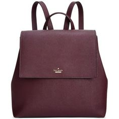kate spade new york Neema Backpack ($348) ❤ liked on Polyvore featuring bags, backpacks, mahogany, kate spade bags, purple backpack, leather bags, rucksack bags and kate spade backpack