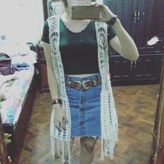 Crochet waistcoat and double buckle western belt! Just recieved my long awaited orders  happy me