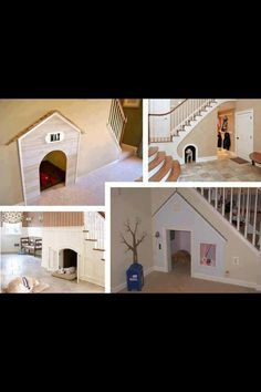 Indoor dog house under stairs. Great idea