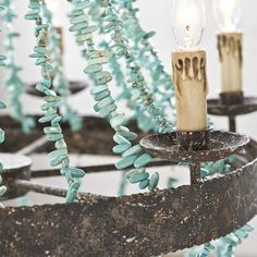 Turquoise and forged iron chandelier!!!