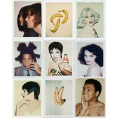 """'Various Polaroids' by Andy Warhol. 1 of 2.  A.W. A tornado of a man. Managing bands making music making films photographing painting creating a wild community in derelict NYC redefining everything and never allowing himself to be measured. His obsession w capturing America's new religion - the famous - on Polaroid was a defining contribution. """"There is no 'fail' or 'succeed' only 'make'."""" - Sister Corita Kent  Our society is built around measuring each other from birth to death from…"""