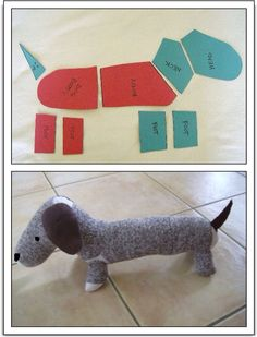 Dachshund stuffed animal made from sock monkey materials. From: Sweetpea and Me: Sock Monkey-Style Dachshund -tutorial- Sock Crafts, Fabric Crafts, Fun Crafts, Crafts With Socks, Sock Monkey Crafts, Sewing Toys, Sewing Crafts, Sewing Projects, Sock Monkey Pattern