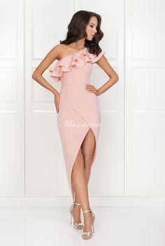 AGNES asymetryczna sukienka pudrowy róż One Shoulder, Shoulder Dress, Formal, Dresses, Style, Fashion, Preppy, Vestidos, Swag
