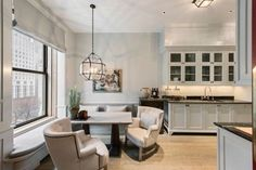 The Astor Suite at the Plaza in New York is for sale: Recently refurbished, S. Gambrel Inc. employed the artisans who rebuilt Windsor Castle to replace wood paneling. Please, it's the Plaza. Kitchen Seating Area, Kitchen Banquette, Kitchen Nook, Kitchen Ideas, Kitchen Cabinets, Kitchen Appliances, Central Park, Küchen Design, House Design