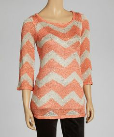 Take a look at this Coral Zigzag Sparkle Tunic by eci New York on #zulily today!