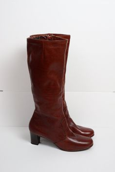 FREE SHIPPING vintage tall leather boots / ox blood by CommonNames, $64.00