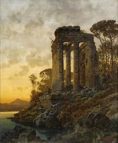 Ferdinand Knab ~ Lake landscape with the ruins of a Roman temple in 1891 (Cool Paintings Landscape)