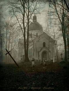 Abandoned Cemetery and Church in the woods, these places are seriously so cool! Abandoned Churches, Old Churches, Abandoned Mansions, Abandoned Places, Abandoned Library, Abandoned Hospital, Abandoned Cars, Spooky Places, Haunted Places
