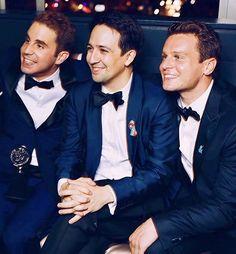 Ben Platt, Lin-Manuel Miranda, and Jonathan Groff at the 2017 Tony awards after-party
