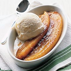 A Super Bowl Menu, part 5: Flambe that Big Easy classic, Bananas Foster, for a quick and easy dessert that matches the drama of the fourth quarter! Bananas Foster from @Martha Stewart, found at www.edamam.com.